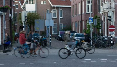 Cyclists in Utrecht, the Dutch city with amongst the highest bicyle modal share in the country.