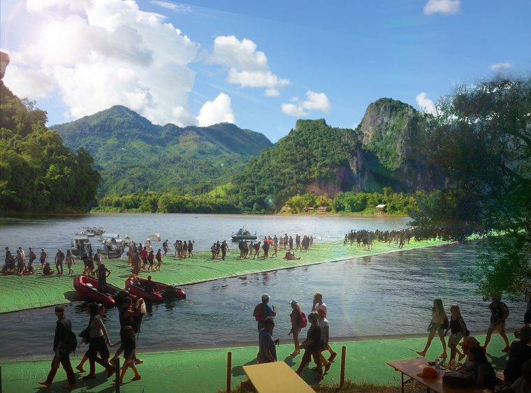 Artist impression of combining tourism, leasure with algae farming on hydropower reservoirs in Lao PDR as part of a circular economy analysis.