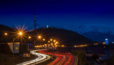 Алматинская кольцевая автодорога, гора Кок-Тобе и городская телебашня